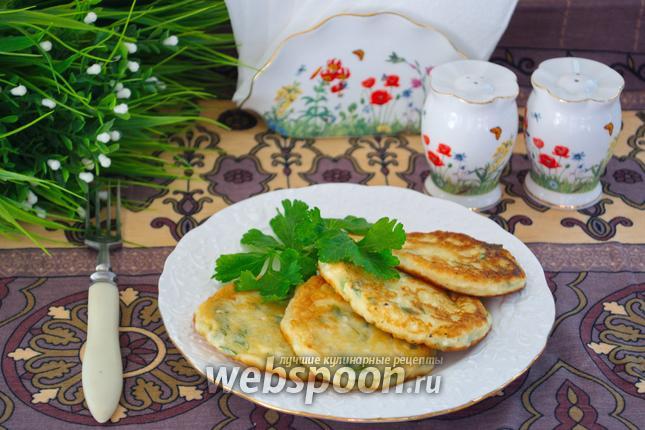 Фото Оладьи из брынзы с зеленью и сметаной
