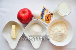 Для приготовления голландского блинчика возьмём муку, молоко, яйца, сахар, сливочное масло, корицу, мускатный орех, яблоки, сахарную пудру для посыпки.