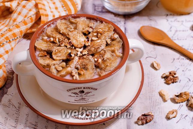 Фото Овсяная каша, запечённая с йогуртом и бананом