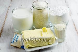 Чтобы приготовить печенье, нужно взять манную крупу, молоко, масло сливочное, сахар, ванильный, кокосовую стружку, муку.