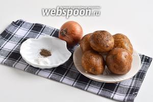 Для начинки нам понадобится картофель, лук, соль, перец чёрный молотый.