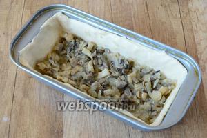 Первым слоем выкладываем грибы.
