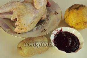 Для приготовления блюда нужно взять курочку, наршараб, картофель, айву и масло.