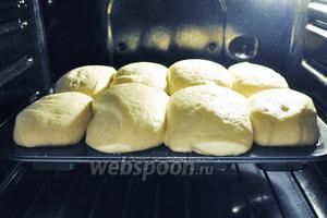 Поставить в духовку для подхода на 4,5-5 часов. Включить только лампочку. От лампочки достаточно тепла для подхода теста. Через 5 часов тесто поднялось. Включить духовку на 180°С и выпекать хлеб 20 минут.