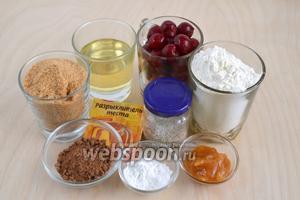 Подготовьте необходимые ингредиенты: муку, вишню, сахар, рафинированное масло, какао, крахмал, мёд, ванильный сахар и разрыхлитель.