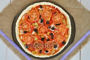 Выложить помидоры, нарезанные тонкими кружочками.