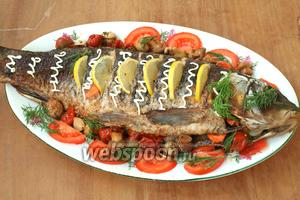 Переложить готового карпа на овальное блюдо, сервировать овощами, зеленью и лимоном. Приятного аппетита!