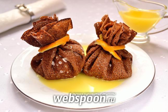 Фото Шоколадные блины с сюрпризом и с апельсиновым соусом