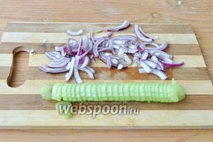 Очистить и нарезать лук и стебель сельдерея.