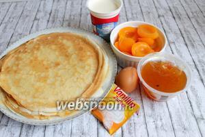 Итак возьмём такие продукты. Яйцо, блины, джем, сливки, абрикосы, масло сливочное.