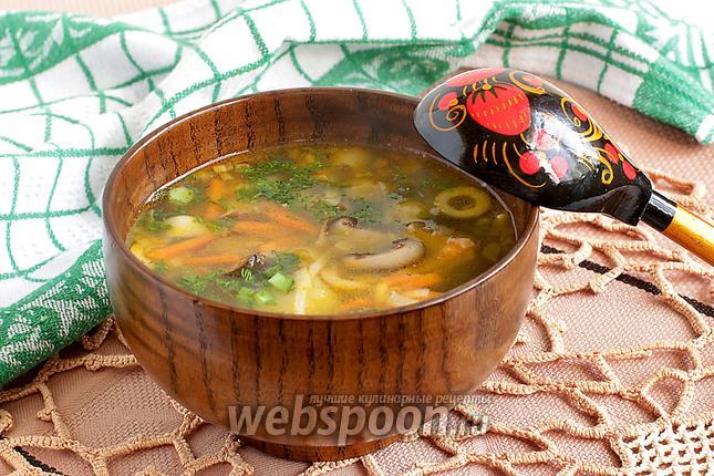 Фото Суп из сухих грибов шиитаке