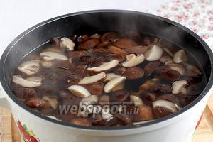 В 2 литровую кастрюлю налить чистую воду, добавить ту, в которой замачивались шиитаке, вместе с уже измельчёнными грибами. Довести до кипения, снять пену,  и варить до размягчения, примерно 1 час или даже больше. Посолить.