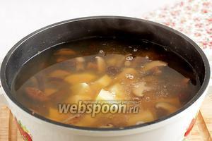 Картофель добавить в грибной бульон после 40 минут варки. Посолить по вкусу, добавить специи для супа. Я обычно добавляю смесь сухих кореньев, они продаются в измельчённом сухом виде. Варить до размягчения картофеля, мне нравится, чтобы он почти разварился.