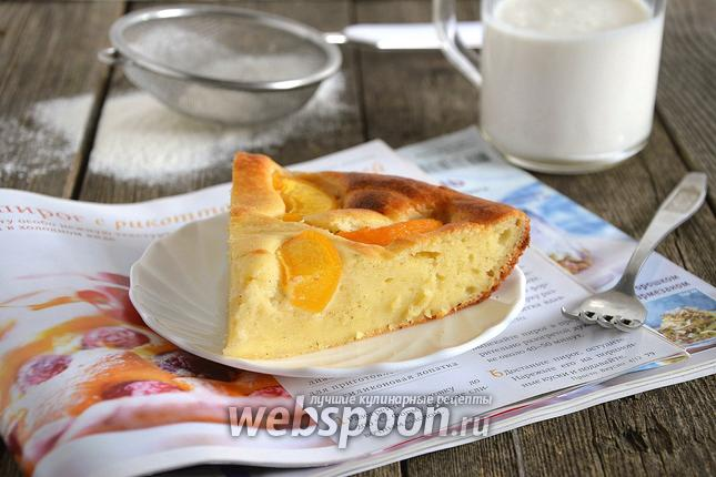 Фото Мягкий пирог с рикоттой и персиками