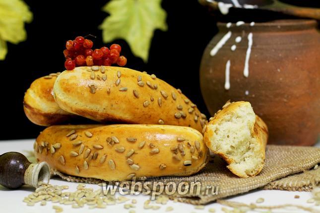 Фото Ароматные багеты с семечками в хлебопечке