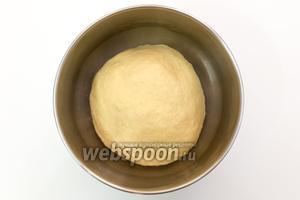Замесим мягкое тесто. Выкладываем его в миску, смазанную маслом. Накрываем плёнкой и ставим в тёплое место на 1 час.