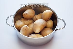 Отварите картошку в мундирах в подсоленной воде до полной готовности. Если видите, что картошка слишком дрызглая (набрала при варке много воды) — подсушите её после чистки какое-то время в духовке при температуре 180°С. Короче, картошка под этот рецепт крокетов нужна довольно сухая.