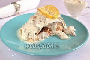 Форель со сливочно-грибным соусом