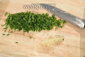 Нарезаете петрушку, кинзу и чеснок. Для чеснока можете использовать чеснокодавилку.