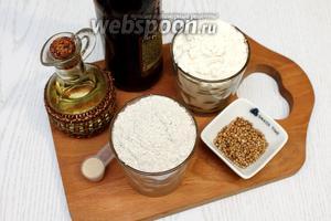 Для приготовления нам понадобятся следующие ингредиенты: пиво тёмное, мука пшеничная, мука ржаная, соль, сахар, масло растительное, кориандр и дрожжи сухие.