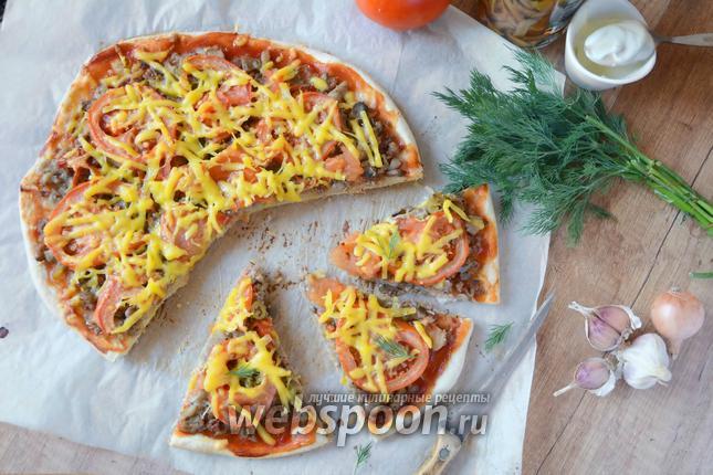 Фото Острая пицца с говяжьим фаршем и грибами