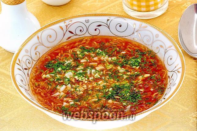 Фото Суп из помидоров и вермишели быстрого приготовления