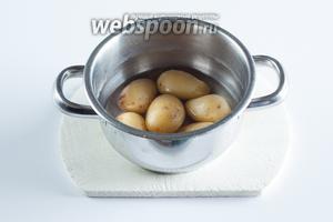 Отварить картошку в мундирах в подсоленной воде.