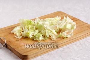 Салат айсберг можно порвать руками или крупно порезать. Думаю, что вместо салата сгодится и пекинская капуста.