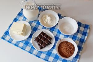 Приготовим ингредиенты: молоко, какао порошок, мука, сахар, шоколад и сливочное масло.