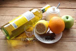 Для приготовления белого глинтвейна возьмём белое вино (у меня Шардоне), апельсин, лимон, зелёное яблоко, бадьян, корицу  в палочках, гвоздику, ром (у меня Капитан Могран). Ещё нужен сахар, лучше коричневый.