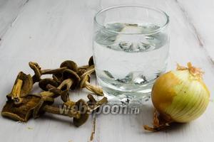 Начнём с приготовления грибного бульона. Для этого нужно взять сухие грибы, лук, воду.