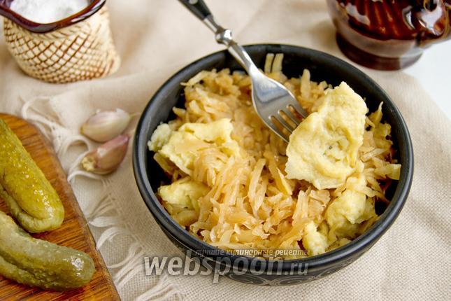Фото Тушёная капуста с галушками