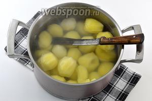 Через 20 минут попробуйте картофель на готовность. Это легко сделать при помощи ножа. Нож должен легко входить в картофель.