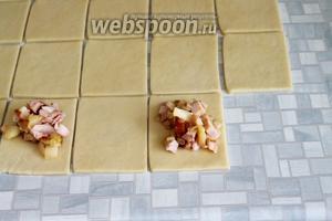 Тесто раскатать в пласт, толщиной 3-5 мм, нарезать на квадраты (у меня где-то сторона равна была 7-8 см), положить начинку.