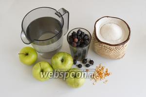 Подготовьте яблоки, сушёный шиповник, сахар, мандариновые шкурки и воду.
