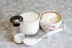 Для приготовления теста взять кефир, муку, масло, соль и сахар.