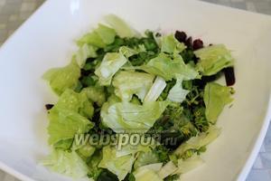 Добавить разорванные листы салата.