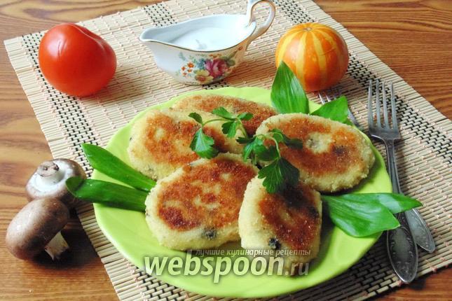 Фото Картофельные котлеты с грибами и сыром