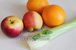 Для десерта взять апельсины, яблоки, сельдерей, мяту.