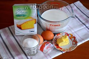 Для крема нам понадобятся яйца, сахар, молоко, крахмал, сливочное масло и ванилин.