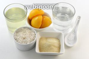 Для работы нам понадобится консервированный персик (банка объёмом 850 мл, в банке приблизительно 500 г персиков и 300 мл персикового сиропа), быстрорастворимый желатин, сахар, лимонная кислота.