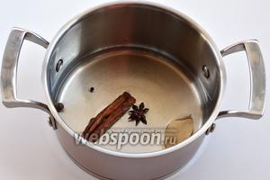 Соединить воду, корицу, бадьян, лавровый лист, перцы горошком. На медленном огне довести до кипения.