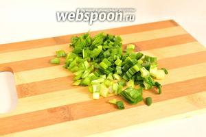 Зелёный лук вымыть и обсушить. Затем нарезать.