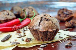 Шоколадные кексы с перцем чили и шоколадом
