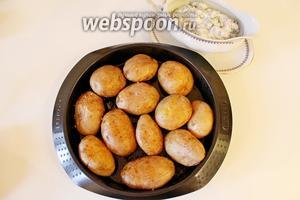 Готовый картофель выложить на тарелку, разрезать  горячим пополам и полить сверху соусом. При подаче посыпать мелко нарезанным зелёным луком.