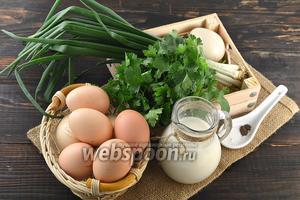 Для работы нам понадобится молоко, яйца, петрушка, зелёный лук, соль, перец чёрный молотый.