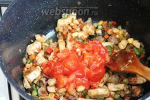 Заправить томатной заправкой мясо с овощами, тушить ещё 10 минут.