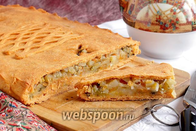 Фото Постный картофельный пирог на томатном тесте