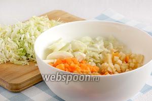 Картошку и тыкву нарезать самыми мелкими кубиками.  Капусту нашинковать тонкой соломкой, она молоденькая и приготовится очень быстро. Лук тоже нарезать тонкой соломкой.