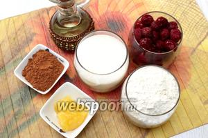 Для приготовления кекса нам понадобятся мёд, сахар, вишня замороженная, вода, масло растительное, мука пшеничная, какао, разрыхлитель и сахарная пудра.